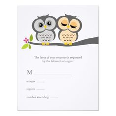 Owl Wedding Invitations Lovely Owls Wedding Response Cards