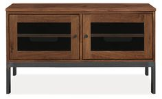 Linear Media Cabinet - 42w 18d 24h - Room & Board :: $1099 for Walnut, Black Perforated metal front, Natural steel base, Natural steel hardware