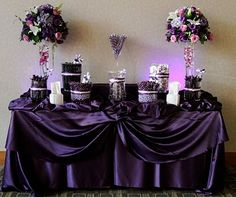purple candy station # 2 great idea for bonbonniere. I& have a white table cloth and have the focus on the purple candy! Purple Party, Purple Wedding, Trendy Wedding, Wedding Colors, Yellow Weddings, Bling Wedding, Dream Wedding, Deco Buffet, Candy Buffet Tables
