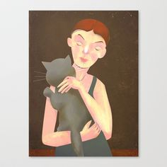 Girl with Cat Stretched Canvas by beatipossidentis - $85.00