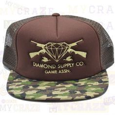 DIAMOND SUPPLY CO GAME ASSN GUNS CAMO BROWN MESH SNAPBACK ADJUSTABLE CAP  #diamondsupplyco #snapback #streetwear