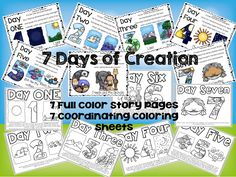 7 Days of Creation Story Boards and Coloring Sheets by Teacher Twinkle Toes Creation Activities, Creation Crafts, Bible Activities, Church Activities, Sabbath Activities, Sunday School Lessons, Sunday School Crafts, Lessons For Kids, Bible Lessons