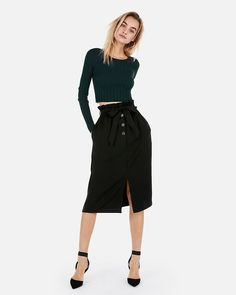 c5938f57a3c High Waisted Paperbag Button Front Midi Skirt Black Women s S