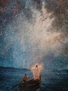 VISION-promise    by Yongsung Kim Evocative art, Jesus Christ in boat arms stretched upwards to stars heavens sky skies, , with man rowing,