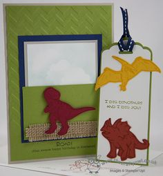 The Crafty Owl's Blog   Scalloped Tag Dinoraur Bookmark Cards and Goodie Gear Simply Created Treat Bags