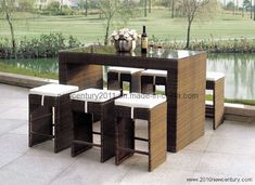 Modern Bar Counter and Chair (7071) Modern Bar counter and chair(7071) 1. Usage: Bar, Outdoor, garden 2. Bar Counter: 180*60*110 Bar Chair: 35*35*72 3. 1.2mm Aluminum frame with high quality powder coated; Strengthened flat PE rattan; 320-360g UV resistant and waterproof polyester fabric; 8cm seat cushion within foam; 5mm tempered glass top 4. Packaging Details: Carton, kraftpaper, EPE Foam, bubble bag, PP bag, woven bag and so on 5. Quality warranty: 1-2years con contact 6. High quality, Outdoor Bar Sets, Outdoor Bar Table, Patio Bar Set, Outdoor Chairs, Outdoor Decor, Contemporary Outdoor Furniture, Outdoor Garden Furniture, Rattan Furniture, Bar Furniture