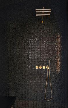 glimmering black mosaic tiles