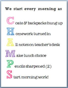 Free morning procedures chart- perfect for making sure kids get everything done before the bell!