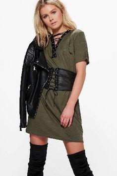#boohoo Lace Up Corset Belt 2 in 1 T-Shirt Dress - khaki #Mya Lace Up Corset Belt 2 in 1 T-Shirt Dress - khaki
