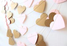 Wedding Garland, Gold Wedding, Heart Banner, Photo Prop, Heart Garland, Pink & Gold Wedding, Garland 10 ft - Bridal Shower, Baby Girl Shower