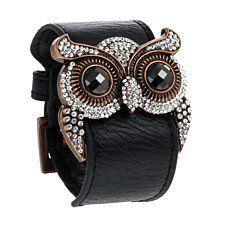 Women's Black Leather Owl Cuff Bracelet