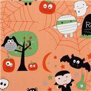 orange Riley Blake Halloween fabric spider web owl