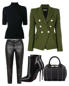 """""""Untitled #607"""" by cathatin on Polyvore featuring Balmain, Samoon, Valentino, Alexander Wang and Christian Louboutin"""