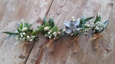 Boutonniere with succulent and herbs for a country chic wedding.