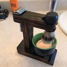 Whiskey Barrel Safety Razor Shaving Stand by whiskeybarrelshop