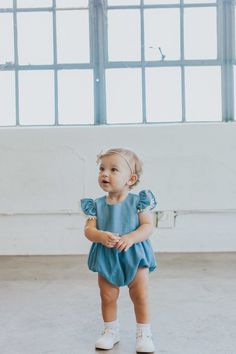 chambray denim bubble romper with vintage pom pom trim for baby s first  birthday photoshoot -- ea2fdb288c5b8