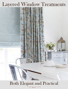 Roman blinds in a contrasting colour to the curtains makes a stunning window treatment. From £75. View Online http://www.polesandblinds.com/slinky-mist-roman-blind/ #interiors #blinds #kitchens #homedecor