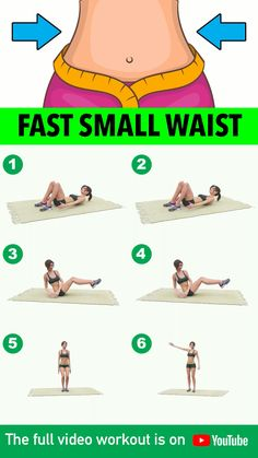 Fast Small Waist Workout Minutes) You've been seeing a lot of exercises that help eliminate belly fat and promise to give you a slimmer, sexier waist. We've combined the simplest, most effective workout. Butt Workout At Home, Full Body Gym Workout, Small Waist Workout, Gym Workout Videos, Gym Workout For Beginners, Workout For Flat Stomach, Pilates Workout, Fitness Workouts, At Home Workouts