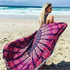 Merssavo Beach and Travel Towel Round Indian Hippie Boho Tapestry Picnic Throw Towel Mat Blanket for Beach Travelling Gym Yoga Pilates Camping Sports Swimming and Bath ** You can find out more details at the link of the image. (This is an affiliate link)