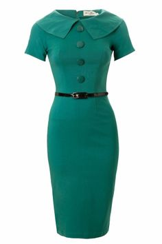 Bettie Page Clothing - 50s Jade Turquoise wiggle pencil dress retro