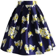 Chicwish My Posh and Posies Skirt (€39) ❤ liked on Polyvore featuring skirts, multi, blue print skirt, print skirt, blue chiffon skirt, patterned skirt and blue skirt