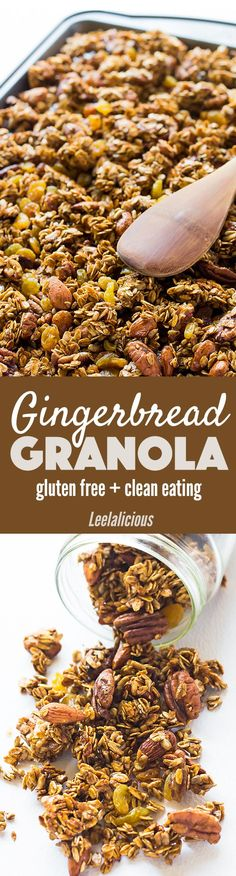 This healthy Gingerbread Granola Recipe is wonderfully flavored for the holidays with molasses and spices. It is gluten free and clean eating!