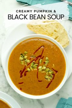 Velvety, rich pumpkin black bean soup gets its creaminess from coconut milk. With hints of ginger and cardamom, this cozy bowl will warm you up from the inside out. Save this recipe for a cozy appetizer or entree on a chilly evening. Vegan Soups, Vegan Dishes, Coconut Milk Soup, Soup Beans, Bean Soup Recipes, Black Bean Soup, Vegan Comfort Food, Stuffed Sweet Peppers, Vegan Recipes Easy