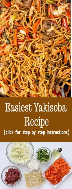 Simple Yakisoba can be quickly prepared at home with easy step by step instructi. - List of the best food recipe Yakisoba Noodles Recipe, Chicken Yakisoba, Recipe For Yakisoba, Ramen Noodles, Whole Food Recipes, Cooking Recipes, Healthy Recipes, Yaki Soba, Gastronomia