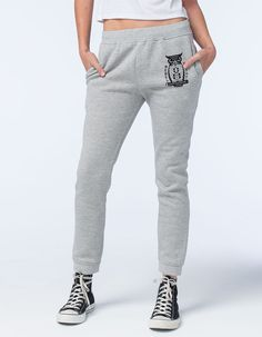 """REBEL 8 Night Watch fleece pants. Pair these cozy bottoms with a soft ringer tee for a day of lounging. Fleece lined sweatpants with a drawstring waist. REBEL 8 graphic on front pocket. Two large hand pockets. Cuffed at the leg openings for added warmth. Button back pocket. 80% cotton/20% polyester. Machine wash. Imported.  <br /><br />Model is wearing a size small. Model measurements:<br />Height: 5'9.""""<br /> Chest: 32""""<br />Waist: 24""""<br />Hips: 34"""""""