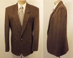 1970's Vintage Donegal Magee Brown Tweed Men's Sport Coat Size 40 unV5A5IC