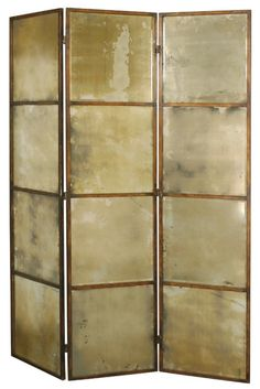 antique mirrored folding screen