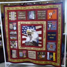 The front side of the quilt that I made for my son for his Eagle Scout COH.  I used his uniforms, earned patches, pins, belt loops, and the shirts for the fabric.  I designed the eagle with the american flag behind it.  All of the words were done in MS word, made into a pattern, and then hand stitched.  More detailed pics to come Scout Mom, Cub Scouts, Girl Scouts, Girl Scout Vest, Eagle Scout Ceremony, Scout Badges, Patriotic Quilts, Quilt Of Valor, Boy Quilts