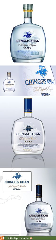 Chinggis Khan Mongolian Vodka has two slightly different bottle and cap designs depending upon the country.