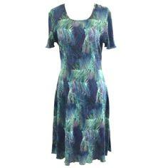 c7d5e469 Dress Barn Women's Short Sleeve Stretch Knee Length Dress 8 Blue Green  #DressBarn #Work