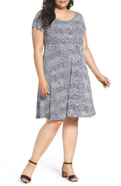 Free shipping and returns on MICHAEL Michael Kors Zephyr Print Fit & Flare Dress (Plus Size) at Nordstrom.com. A slinky reptile print in cool blue tones updates a soft matte-jersey dress in a feminine (and waist-slimming) silhouette.