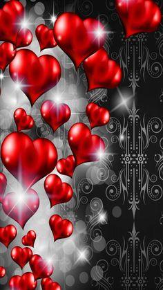 Viele Rote Herzchen... Wallpaper...By Artist Unknown...