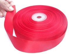 Double Face 1 Inch  Satin Ribbon. 50 Yards. (Red, Green, White, Black...)