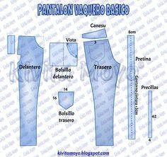 TRAZADO DE PANTALON VAQUERO BASICO - Dama Sewing Pants, Sewing Clothes, Diy Clothes, Peasant Dress Patterns, Sewing Paterns, Bespoke Shirts, Tailor Shop, Modelista, Patterned Jeans