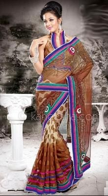 Enigmatic Brown Embroidered Saree
