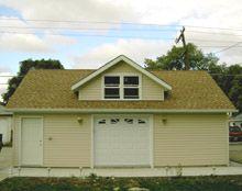 Custom garages and garage on pinterest for Reverse gable garage