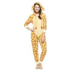 Women's Giraffe Footie PJ Yellow