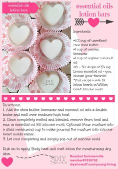 Essential Oil Lotion Hearts @diyshowoff