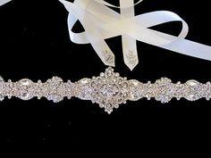 Bridal Wedding Dress Rhinestone Beaded Crystal Embellished Belt Sash