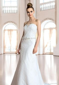 Wholesale Wedding Dress - Buy Elegant Wedding Party Dresses Sweetheart Lace Sleevless With Beautiful Beads Sash Sweep Train Birdal Dresses Gowns, $135.11 | DHgate.com