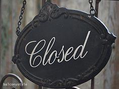 Open Close両面式ハンギングサイン シックなブラック オープンクローズサイン