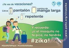 Vas de vacaciones, no olvides tomar las medidas para evitar las picaduras de zancudo que podrían causarte #Zika #dengue o #Chikungunya