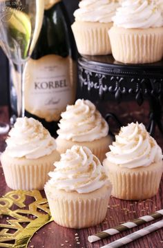 Champagne Cupcakes - use 2 while eggs instead of egg whites. Cream the butter and sugar, adding eggs one at a time. Then incorporate dry ingredients until just mixed. BEST CAKE EVER
