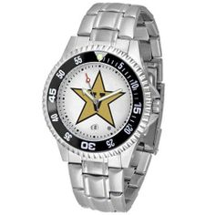 """Vanderbilt Commodores NCAA """"Competitor"""" Mens Watch (Metal Band) by SunTime. $84.59. Calendar Date Function. Rotating Bezel. Color Coordinated. Showcase the hottest design in watches today! A functional rotating bezel is color-coordinated to compliment your favorite team logo. A durable, long-lasting combination nylon/leather strap, together with a date calendar, round out this best-selling timepiece."""