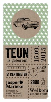 Geboortekaartje retro auto papier  | birth announcement car | typografie en letterpress stijl. www.meisenmanneke.nl Baby Kind, Baby Love, Baby Birth, Flyer, Baby Cards, Retro Auto, Letterpress, Packaging Design, Birth Announcements
