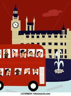 Stock Illustration - England, London, bus tour driving past Big Ben